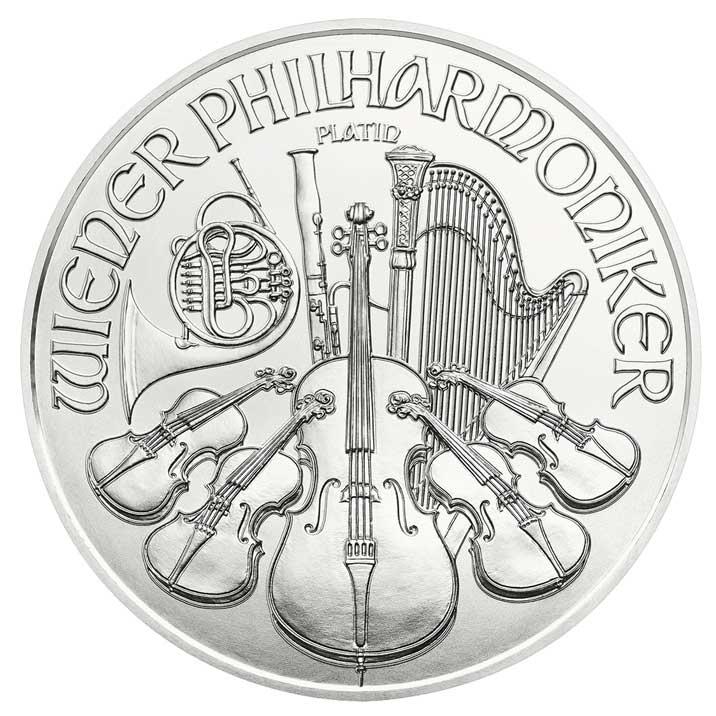 Wiener Philharmoniker 1 Unze Platin Bildseite Wiener Philharmoniker Platin