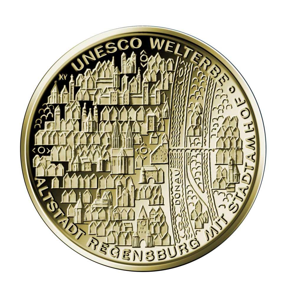 100 Euro Goldmünze UNESCO Welterbe Regensburg Bildseite 100 Euro Goldmünze Regensburg