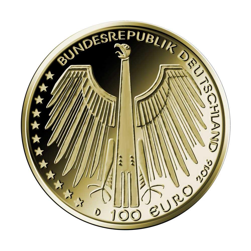 100 Euro Goldmünze UNESCO Welterbe Regensburg Wertseite 100 Euro Goldmünze Regensburg
