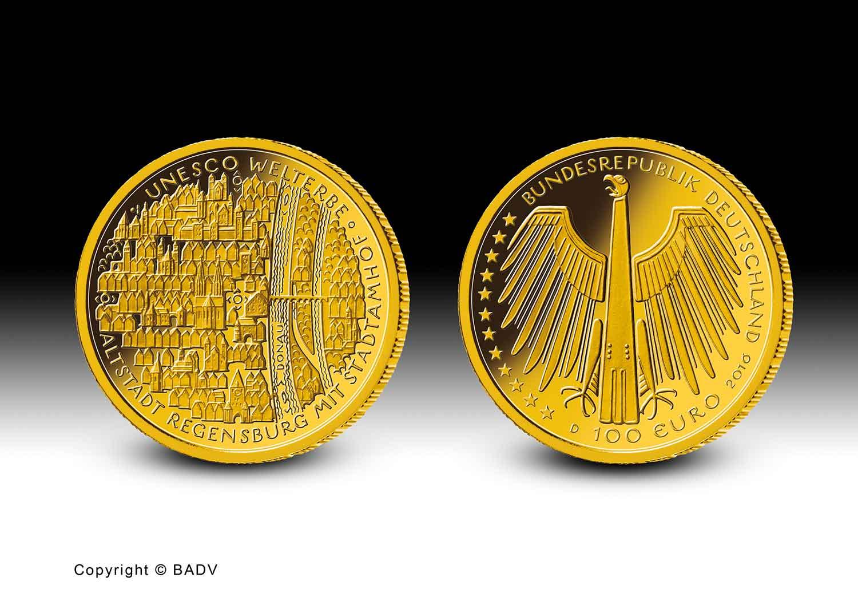 Goldmünze UNESCO Welterbe Regensburg 100 Euro Goldmünze Regensburg